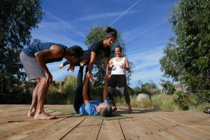 Acro class on the yoga deck