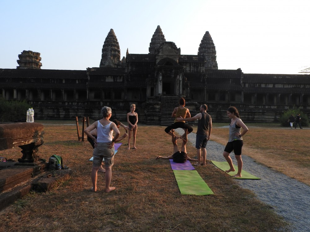 Acro Yoga at Angkor Wat Temple