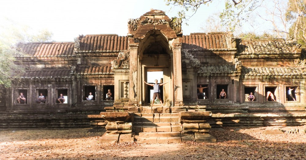 Yoga in Angkor Wat Temple