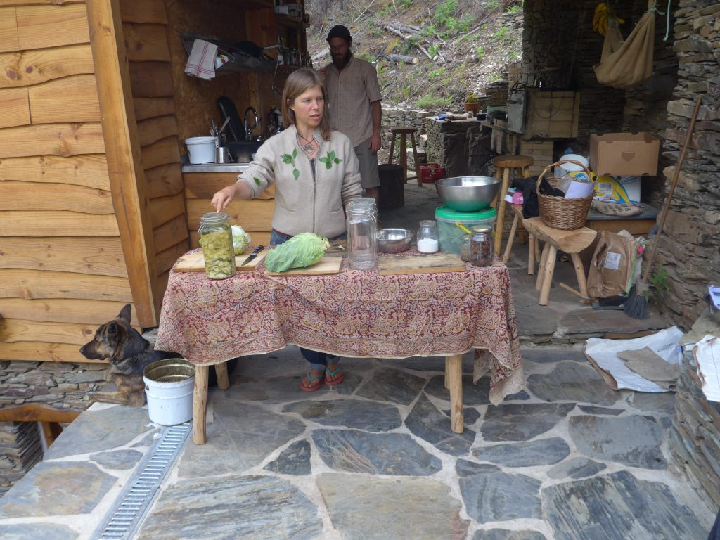 Laura teaching us how to make a wild green sauerkraut