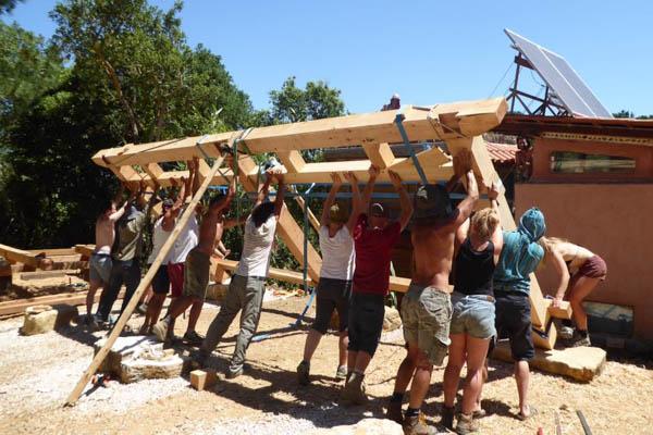 raising a timber frame house