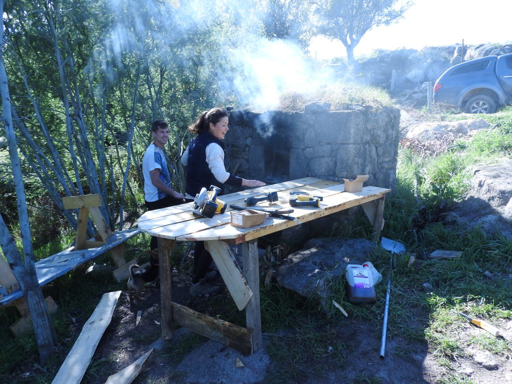 cooking in the stone oven