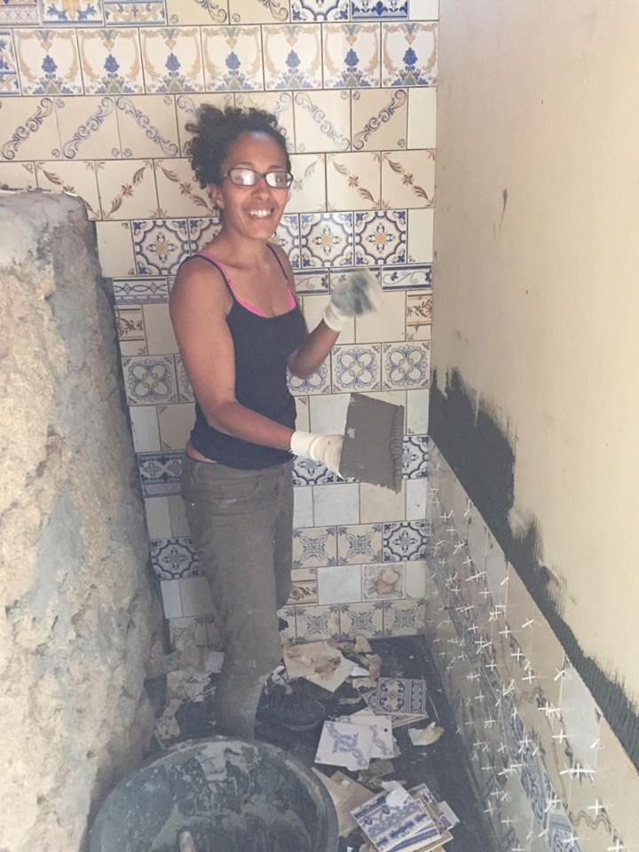 Sharime learnt how to tile, and made this with help from Tim and free left over tiles from our local shop. Hot water and beauty