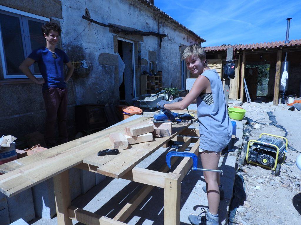 volunteer making yoga blocks