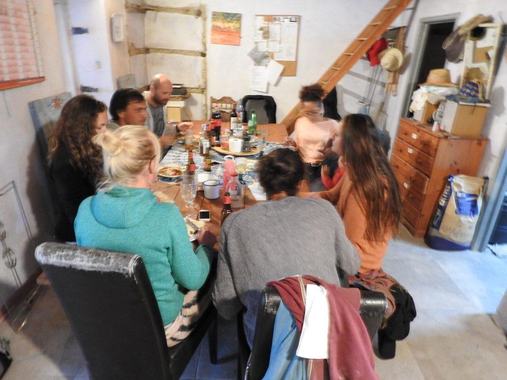 Eating inside the community house